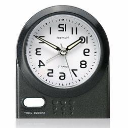 Travel Alarm Clock Plumeet Non Ticking Analog with Snooze an