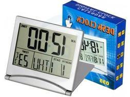 Travel Foldable Desk Alarm Clock with Calendar Alarm Day Tem