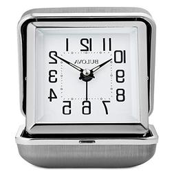 Bulova B6123 Traveler Alarm Clock, Silver