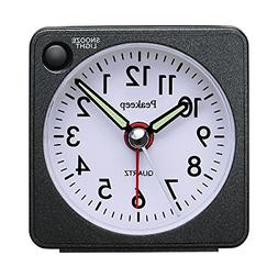 Ultra Small, Peakeep Battery Travel Alarm Clock with Snooze