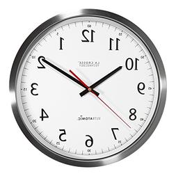 "14"" UltrAtomic Analog Stainless Steel Wall Clock"
