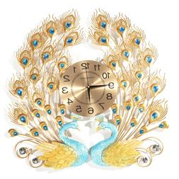 US AUGIENB 3D Peacock 12h Wall Clock Large Accurate Metal Ar