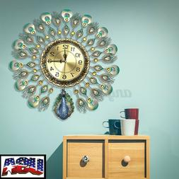 US Large 60x60cm Wall Clocks Luxury European Peacock Living