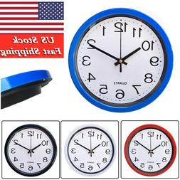 US-Silent Wall Clock Simplicity  Round Quartz Bell Battery O