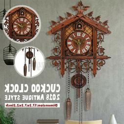 US Style Vintage Wood Cuckoo Clock Forest House Swing Wall H