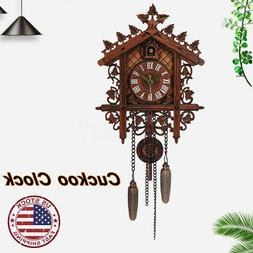 US Wood Cuckoo Clock Forest House Swing Wall Alarm Handcraft