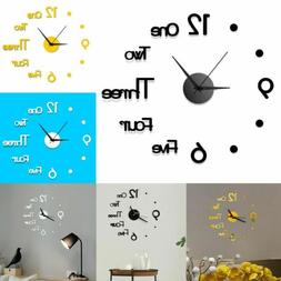 USA 3D Large Wall Clock Frameless Mirror Number Sticker Mode