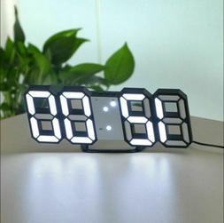 USB Modern Digital 3D LED Wall Clock Alarm Snooze 12/24 Hour