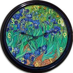 "Van Gogh Irises Wall Clock Flowers New 10"""