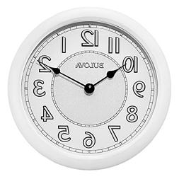 Bulova Versatile White Weatherproof Metal Case Wall Clock C4