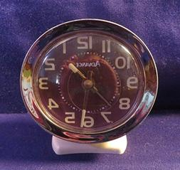 "Vintage ADVANCE Key Wound Auto Alarm Clock 4"" Tall 3.5"" Wide"