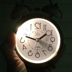 Vintage Alarm Clock Night Led Light Bell Battery Operated Be