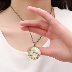 vintage clock art fashion cabochon necklace pendant