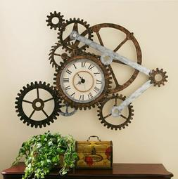 Vintage Clocks For Walls Art Large Retro Rustic Metal Gears