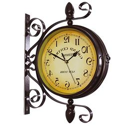 KiaoTime Vintage Double Sided Wall Clock Iron Metal Silent Q