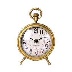 NIKKY HOME Vintage Metal Table Clock with Pocket Watch Shape