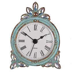 NIKKY HOME Vintage Pewter Quartz Table Clock with Crystal Sh
