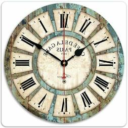 30CM Vintage Wooden Wall Clock Shabby Chic Rustic Kitchen Ho