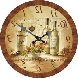 Vintage Round Wooden Wall Clock Retro Wine and Grape Home Of