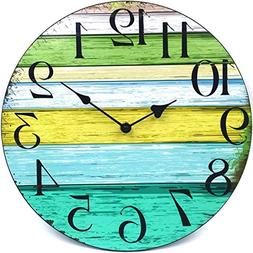 "12"" Vintage Shabby Beach Weathered Beachy Boards Clock Nauti"