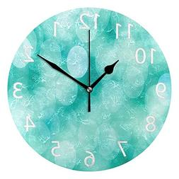 ABLINK Vintage Turquoise Bubbles Round Acrylic Wall Clock, S