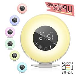 Wake Up Light,  Auelek LED Digital Alarm Clock with 7 Color