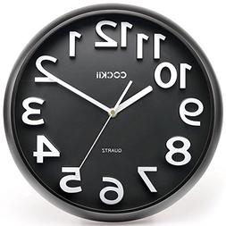 Cockii Wall Clock 13 Inch with Large 3D Numbers, Silent Non-