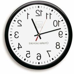 Charles Leonard Wall Clock, 14 Inch Thinline Quartz Black/Wh