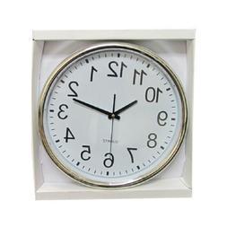 Harko Wall Clock 15 Inch Round Silver Rim Large Analog Offic