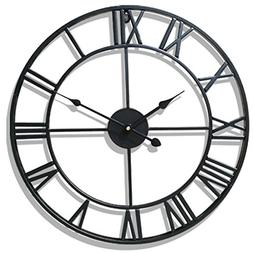PeleusTech® Wall Clock, 20-inch Dia Large Iron Metal Vintag