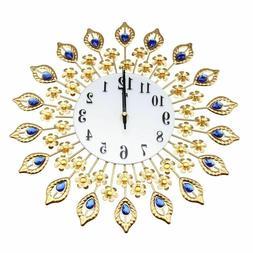 Wall Clock Analog Golden Flower Shaped Rhinestone Metal Craf