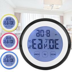 Wall Clock Digital Humidity Timer Thermometer Alarm Clocks F