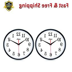 Wall Clock Non Ticking 2 Pack Large Number Battery Operate H