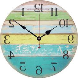 Yesee Wall Clock Non Ticking Decorative Wooden Wall Clock Ba