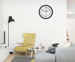 Wall Clock Non Ticking Quartz Battery for Bedroom Kitchen Li