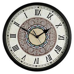 SMILEMARY Wall Clock,12 inch Black Wall Clock European Style