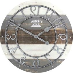 Wall Clock Shabby Wood Rustic Farmhouse Antique Style Home D