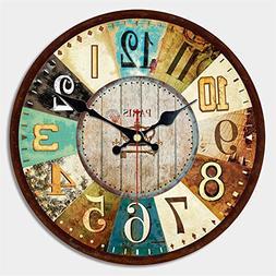 MEISTAR 16 Inch Wall Clock Silent Non Ticking Antique Vintag