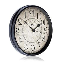 Justup Wall Clock, 12 inch Metal Silent Non-Ticking Retro Cl