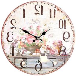 """Wall Clock 13"""" Vintage Shabby Chic French Flowers Art Kitche"""