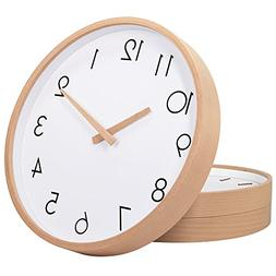 "TXL Wall Clock Wood 12"" Silent Large Wood Wall Clocks Digita"