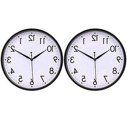 HIPPIH 2 Pack 10 Inch Wall Clocks, Silent Analog Modern Wall