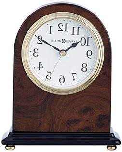 Walnut Finished Wood Mantel Clock with Inlaid Burl Detail
