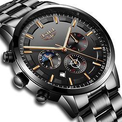 Watches Men Stainless Steel Sport Analog Quartz Watch Men Lu
