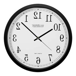 Weather Monitoring Wall Clocks Black Time 14-Inch Atomic Set