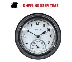 Weather Resistant Indoor/Outdoor Black Quartz Wall Clock Dec