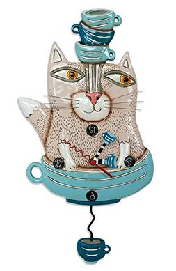 "Allen Designs ""TeaCat"" Whimsical Cat Pendulum Wall Clock"