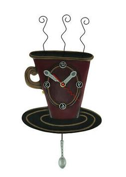 "Allen Designs ""Cozy Cafe"" Whimsical Coffee Cup Pendulum Wall"