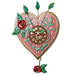 "Allen Designs ""Love Blooms"" Whimsical Heart Pendulum Wall Cl"
