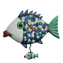 "Allen Designs ""Fishy Lips"" Whimsical Pendulum Wall Clock"